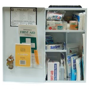 Hospitality First Aid Kit, Complete Set In Wall Mountable Metal Case