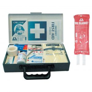Kitchen First Aid Kit, Deluxe, Complete Set In Plastic Case